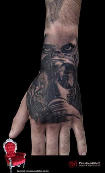 Realistic Hand Gas Mask Tattoo by Piranha Tattoo Supplies