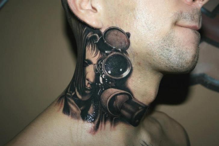 Realistic Women Gun Neck 3d Tattoo by Piranha Tattoo Supplies