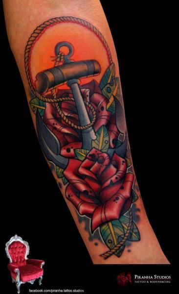 New School Flower Anchor Tattoo by Piranha Tattoo Supplies