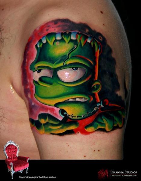 Shoulder Fantasy Frankenstein Simpson Tattoo by Piranha Tattoo Supplies