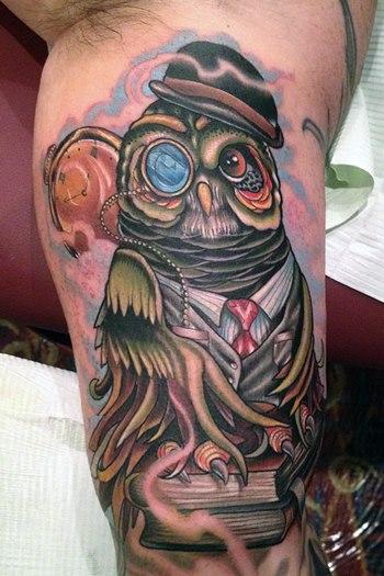 Arm Fantasie Eulen Hut Tattoo von Vince Villalvazo