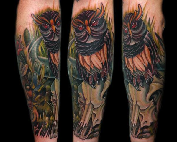 Arm Owl Tattoo by Vince Villalvazo