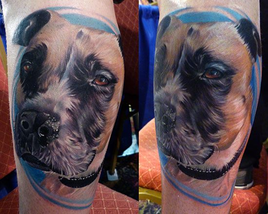 Arm Realistic Dog Tattoo by Vince Villalvazo