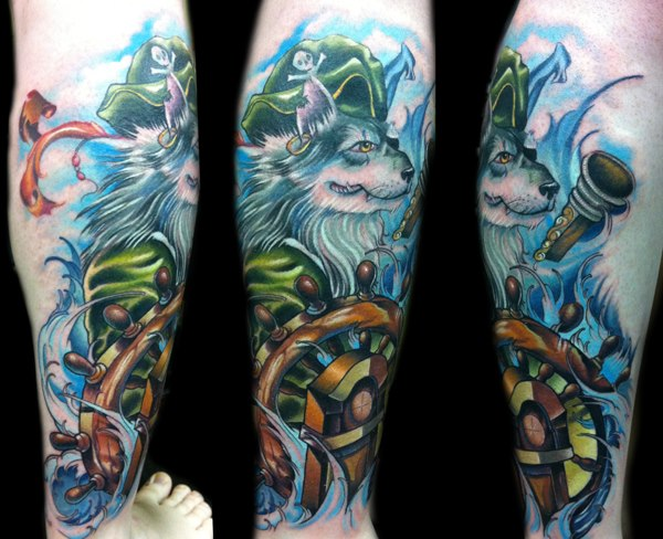 Fantasy Calf Wolf Pirate Tattoo by Vince Villalvazo