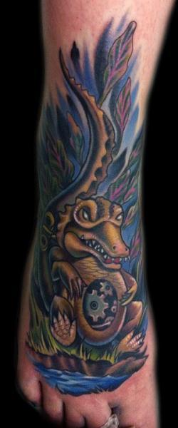 Fantasy Foot Crocodile Tattoo by Vince Villalvazo