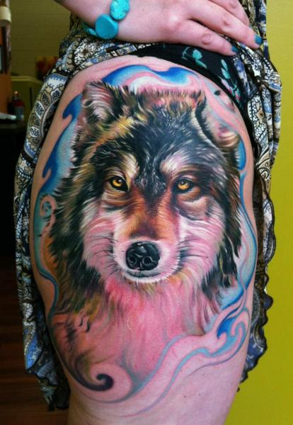 Realistic Leg Dog Tattoo by Vince Villalvazo