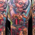 Shoulder Fantasy Character Drum tattoo by Vince Villalvazo