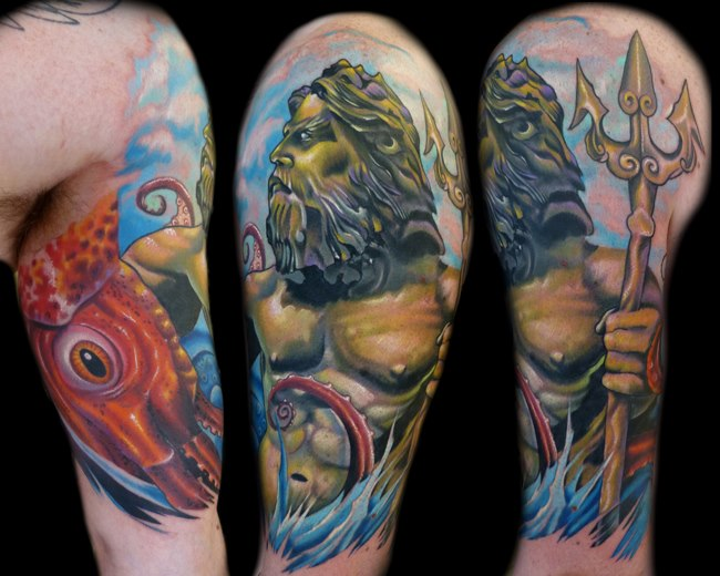 Shoulder Fantasy Neptune Tattoo by Vince Villalvazo