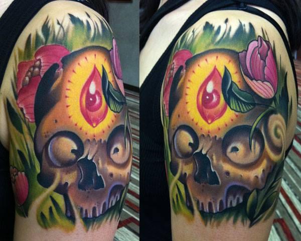 Shoulder Fantasy Skull Tattoo by Vince Villalvazo