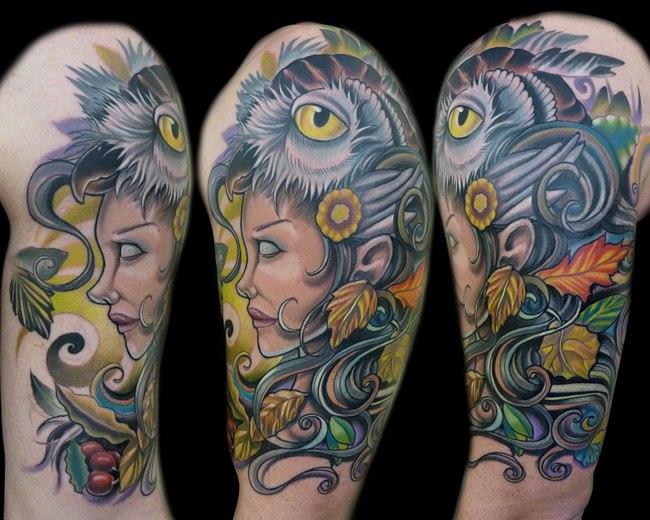 Schulter Fantasie Frauen Eulen Tattoo von Vince Villalvazo