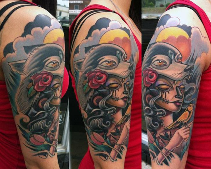 Shoulder New School Women Wolf Tattoo by Vince Villalvazo