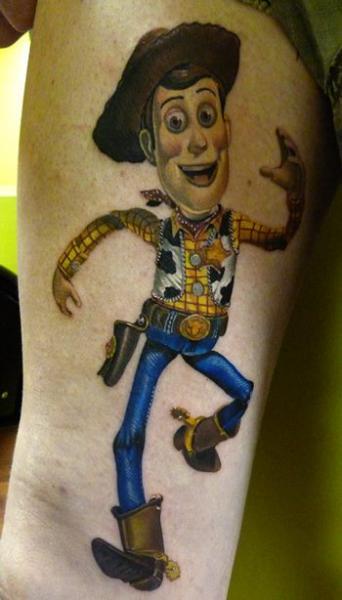 Fantasy Thigh Toy Story Tattoo by Vince Villalvazo