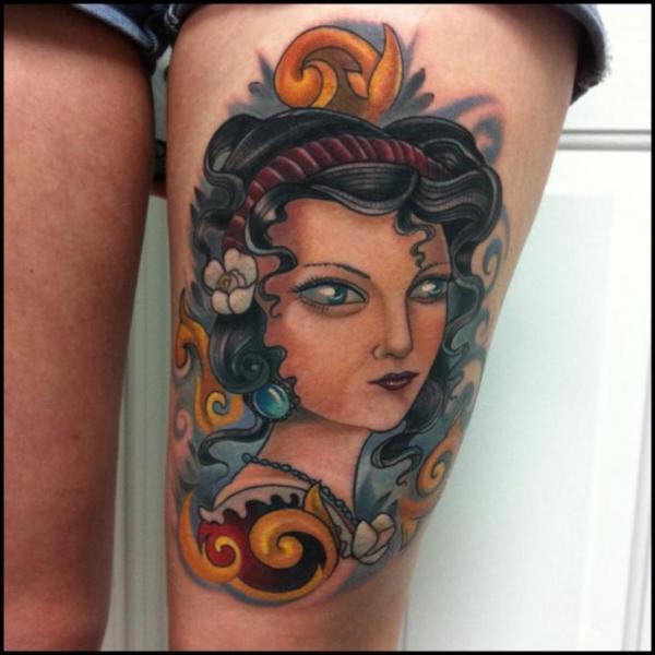 Women Thigh Tattoo by Vince Villalvazo