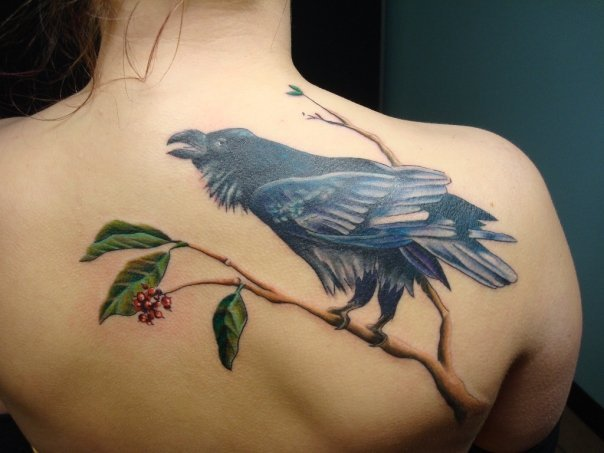 Realistic Back Crow Tattoo by Tantrix Body Art