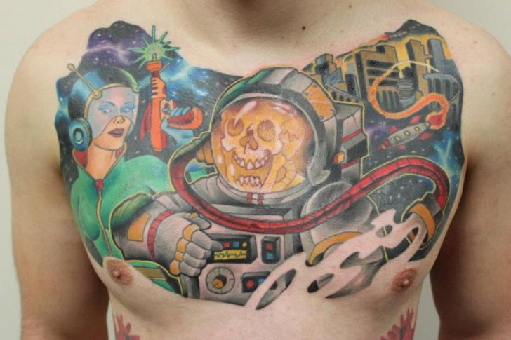 Fantasy Chest Astronaut Tattoo by Tantrix Body Art