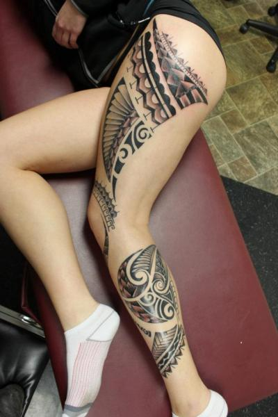 Leg Tribal Maori Thigh Tattoo by Tantrix Body Art