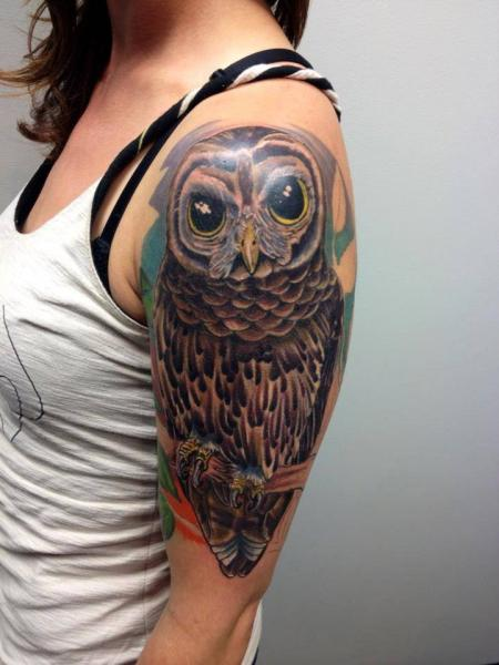 Shoulder Arm Realistic Owl Tattoo by Tantrix Body Art