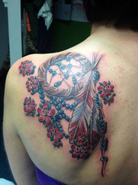 Shoulder Realistic Dreamcatcher Tattoo by Tantrix Body Art