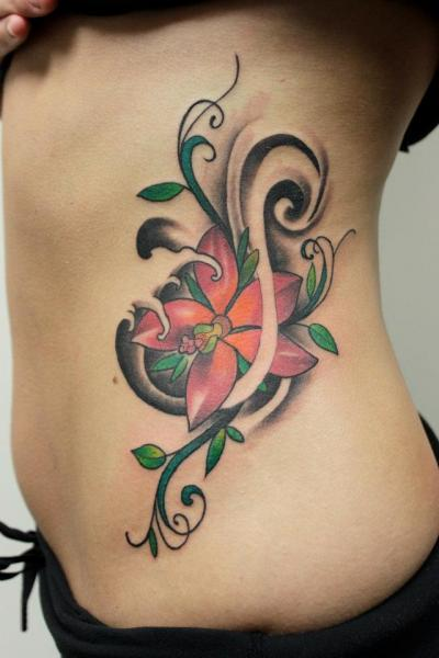 Flower Side Tattoo by Tantrix Body Art