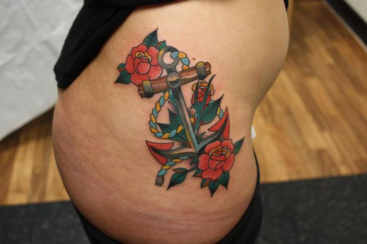 Old School Flower Side Anchor Tattoo by Tantrix Body Art