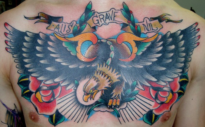 Chest Old School Eagle Tattoo by Ollie XXX