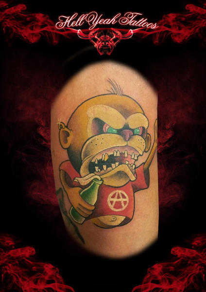 Arm Fantasy Character Monkey Tattoo by Hellyeah Tattoos