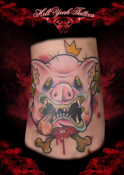 Arm Fantasy Pig Bone Tattoo by Hellyeah Tattoos