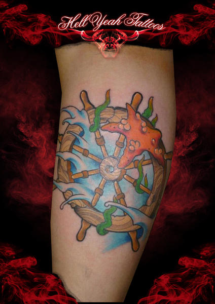 Arm Fantasy Rudder Tattoo by Hellyeah Tattoos
