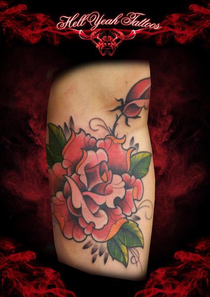 Arm New School Flower Rose Tattoo by Hellyeah Tattoos