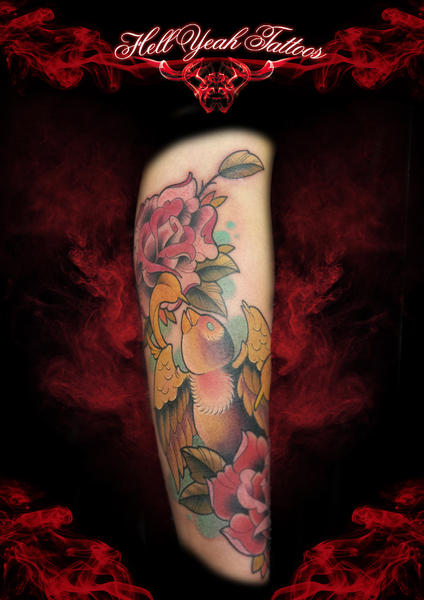 Arm New School Sparrow Tattoo by Hellyeah Tattoos