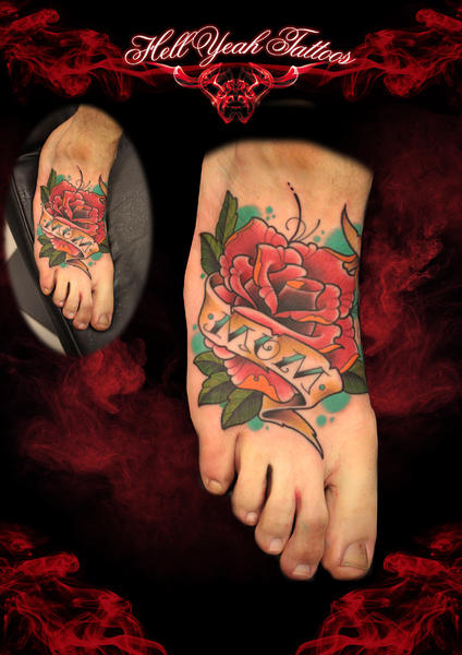 New School Foot Flower Rose Tattoo by Hellyeah Tattoos
