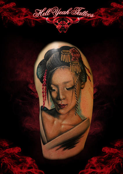 Schulter Japanische Geisha Tattoo von Hellyeah Tattoos