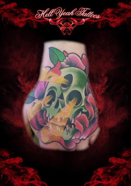 New School Flower Skull Hand Tattoo by Hellyeah Tattoos