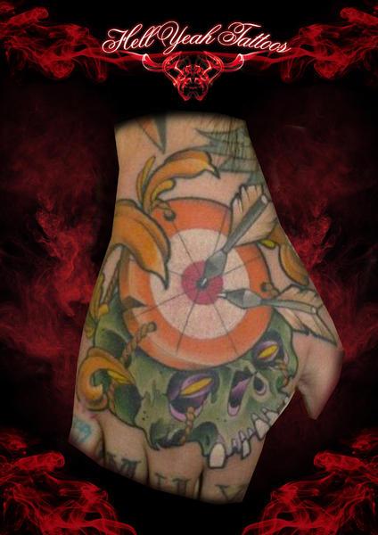 New School Skull Hand Target Tattoo by Hellyeah Tattoos