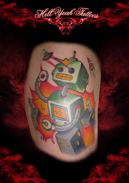 Tatuaje Fantasy Pierna Robot por Hellyeah Tattoos