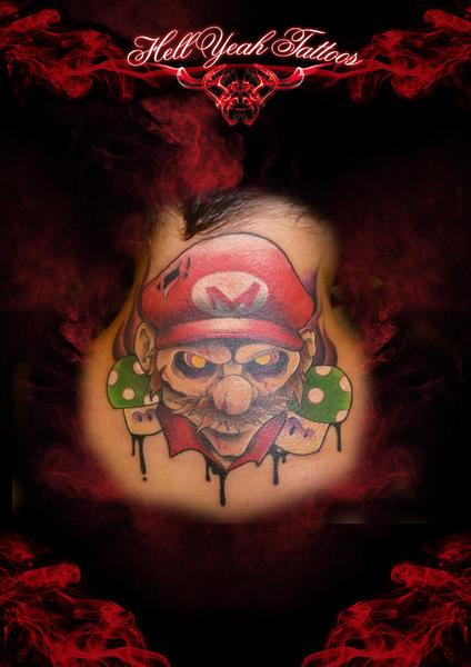 Fantasy Neck Super Mario Zombie Tattoo by Hellyeah Tattoos