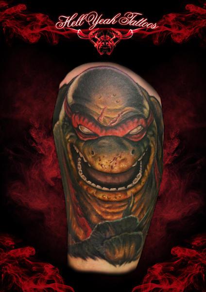 Shoulder Fantasy Ninja Turtle Tattoo by Hellyeah Tattoos