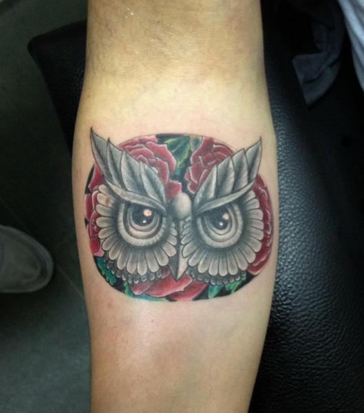 Arm New School Owl Tattoo by Resul Odabaş