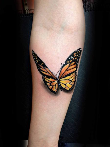 Arm Realistic Butterfly 3d Tattoo by Resul Odabaş