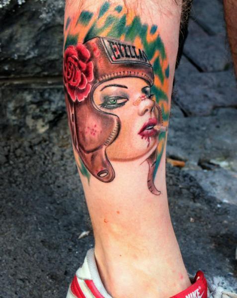 Portrait Leg Women Boxe Tattoo by Resul Odabaş