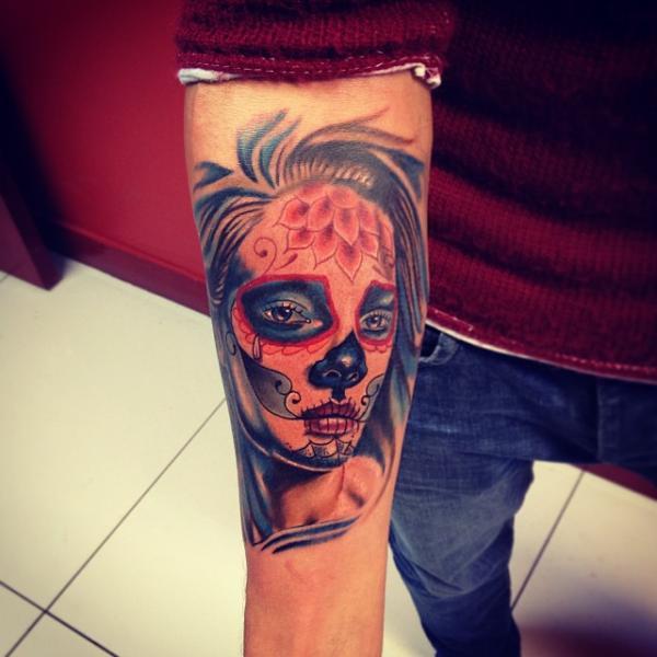 Arm Mexican Skull Tattoo by Fatih Odabaş