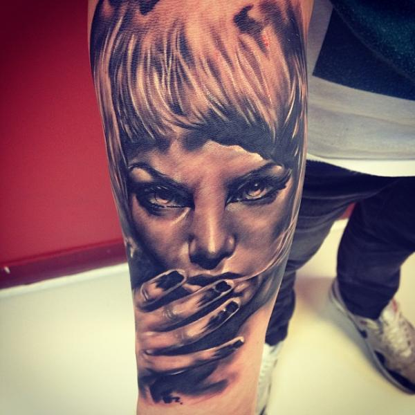 Arm Portrait Women Tattoo by Fatih Odabaş