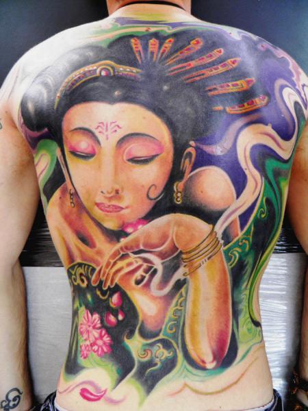 Japanese Back Geisha Tattoo by Crossover