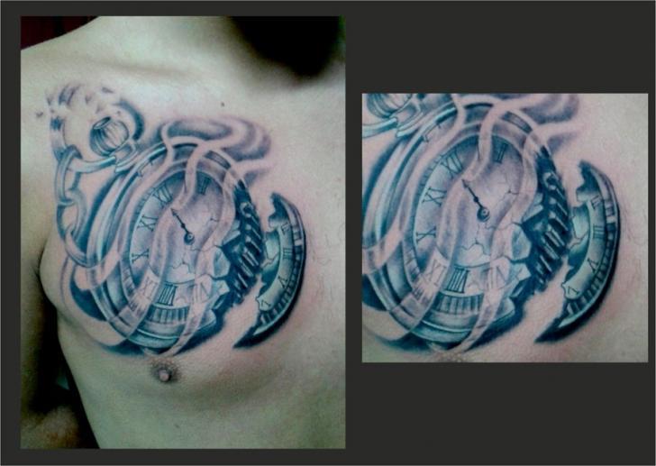 Tatuaż Zegar Klatka Piersiowa 3d Przez Crossover