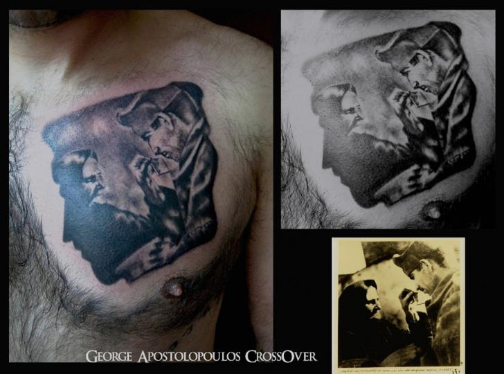 Portrait Realistic Chest Tattoo by Crossover