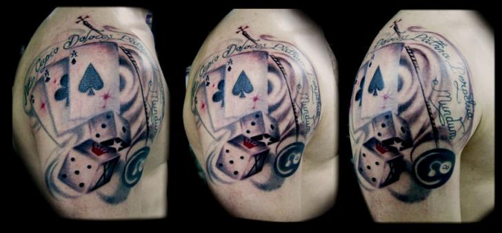Shoulder Dice Card Tattoo by Crossover