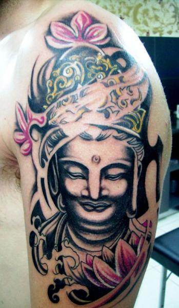 Shoulder Buddha Religious Tattoo by Crossover