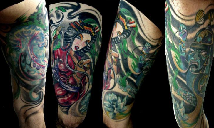 Japanese Geisha Thigh Tattoo by Crossover