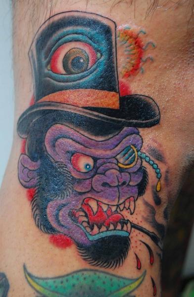 Arm Fantasy Monkey Hat Tattoo by Illsynapse