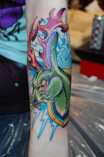 Arm New School Rabbit Deer Tattoo by Illsynapse